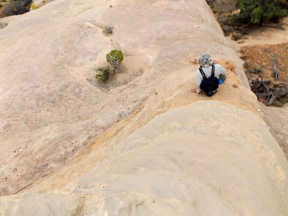 Scrambling into the canyon