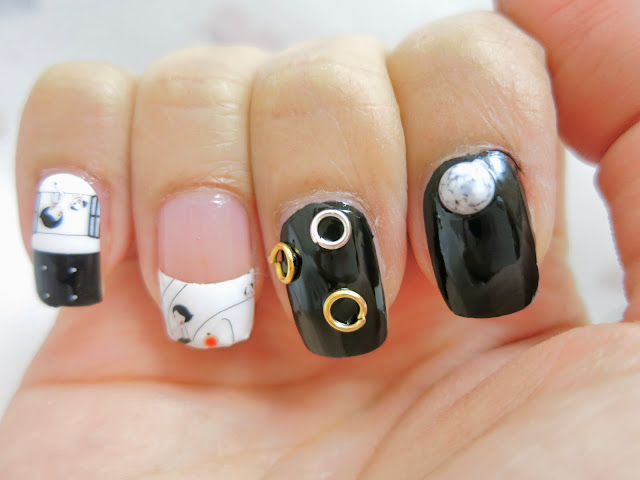 Black and White Elephant and Dog Nail Art Nail Wrap MDS1033