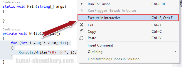 Execute code in Visual Studio 2015 Interactive Window (www.kunal-chowdhury.com)