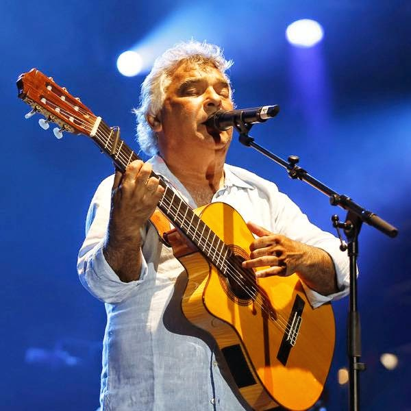 French singer of the Gipsy Kings band, Nicolas Reyes, performs on stage during the Nice Jazz Festival on July 11, 2014 in Nice, southeastern France.
