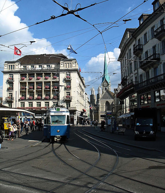 Tram Stop in Zurich Square
