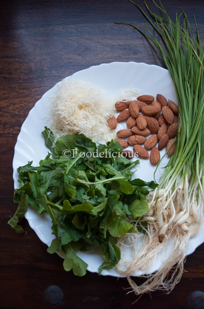 Ingredients for Arugula Green Garlic Pesto