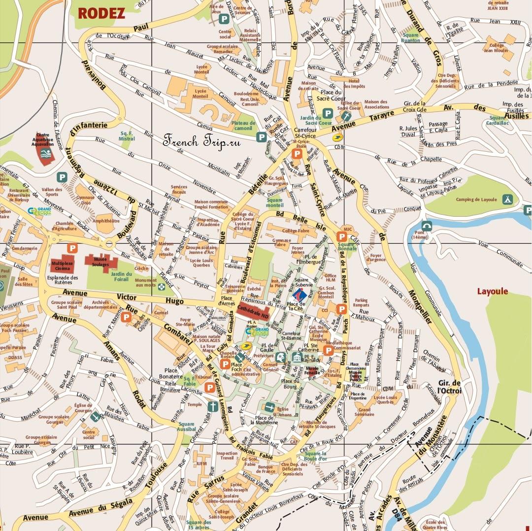 Парковки в Родезе (Rodez), Франция - стоимость парковок, расположение парковок, карта парковок, платные и бесплатные парковки в Родезе