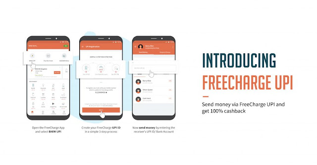 FreeCharge - 100% Cashback Upto Rs.50 On First UPI Transfer