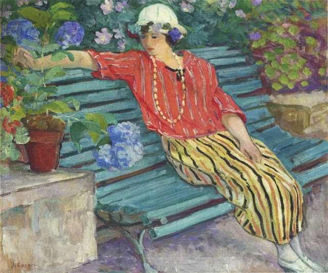 Henri Lebasque - Young woman seated with hydrangeas-1920