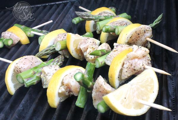 Lemon asparagus chicken kabobs