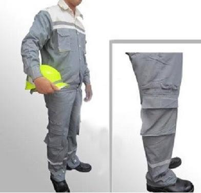 Quần áo bảo hộ lao động vải bạt dày chống cháy màu ghi - QAK0003