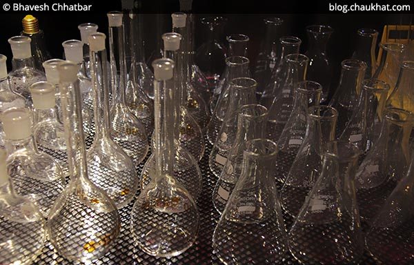 Hospital laboratory containers used as serving glasses at SocialClinic Restobar located at Koregaon Park in Pune