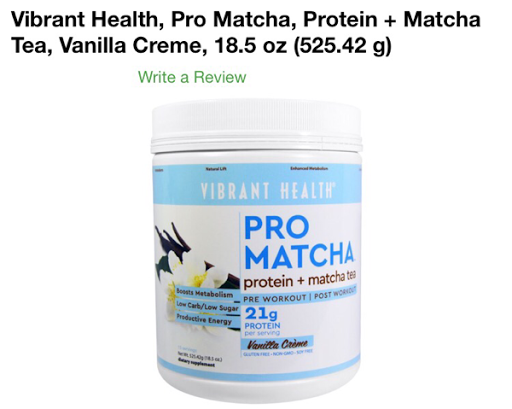 بروتين برو ماتشا من اي هيرب Vibrant Health, Pro Matcha, Protein