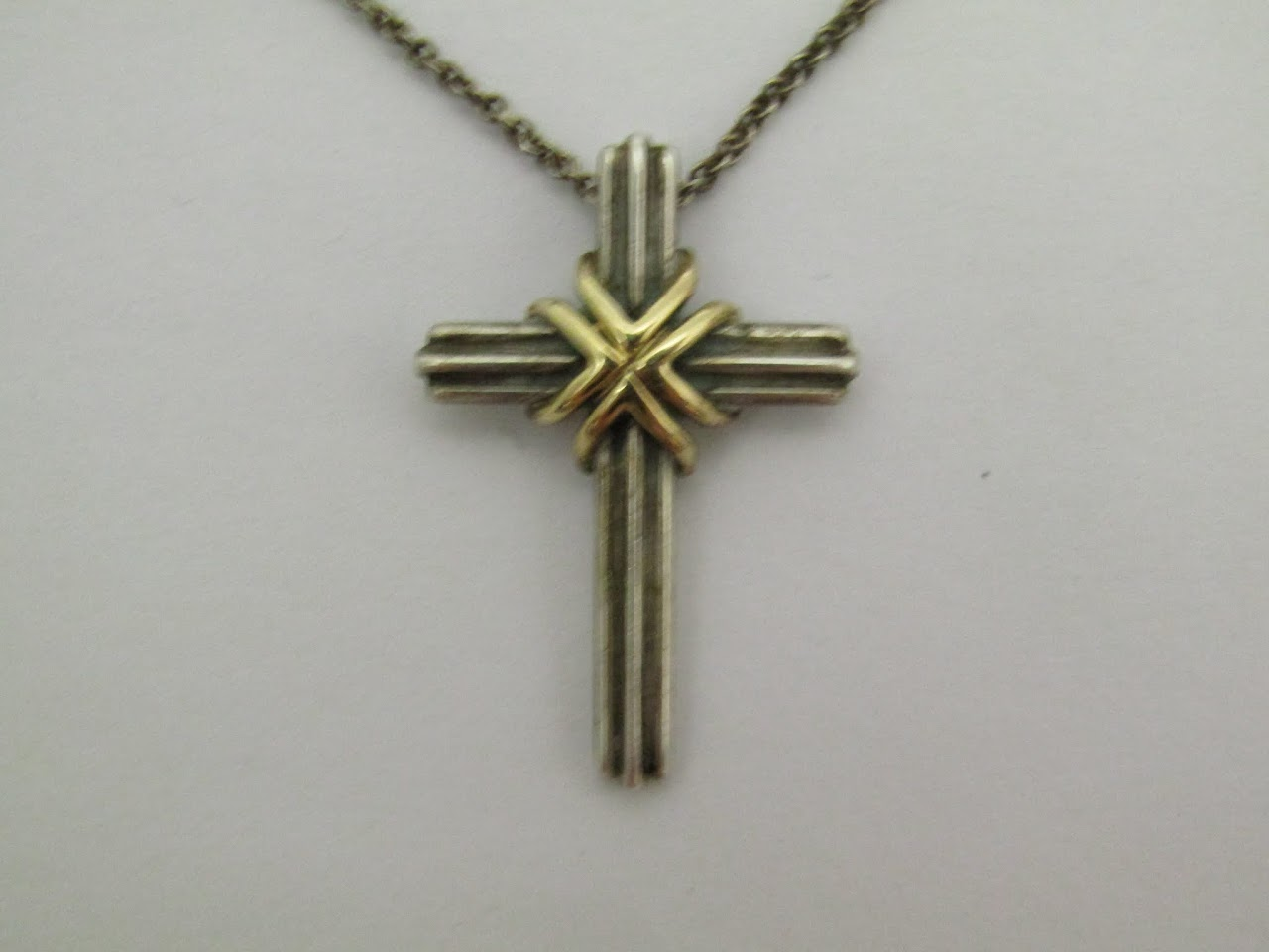 Tiffany & Co. Sterling and Gold Crucifix Necklace
