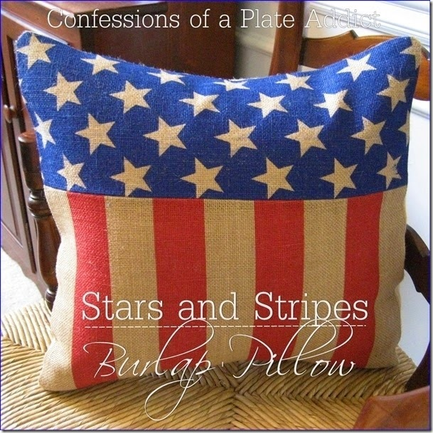 CONFESSIONS OF A PLATE ADDICT Stars and Stripes Burlap Pillow_thumb[7]