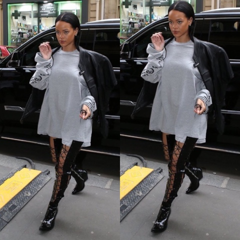 Rihanna wears Unravel Project Boots in Paris