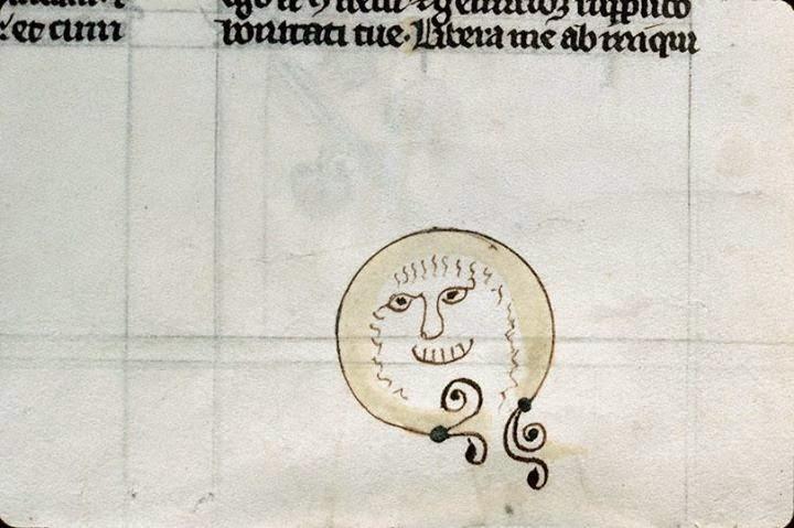Carinha desenhada no rodapé de um manuscrito da Idade Média