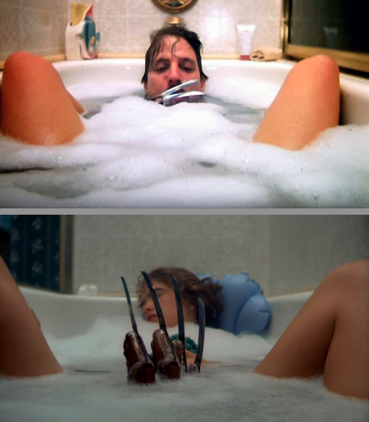 Jim Doyle has the dirty job of playing Freddy's claw in the bath with Heather Langenkamp. What? And give up show biz?