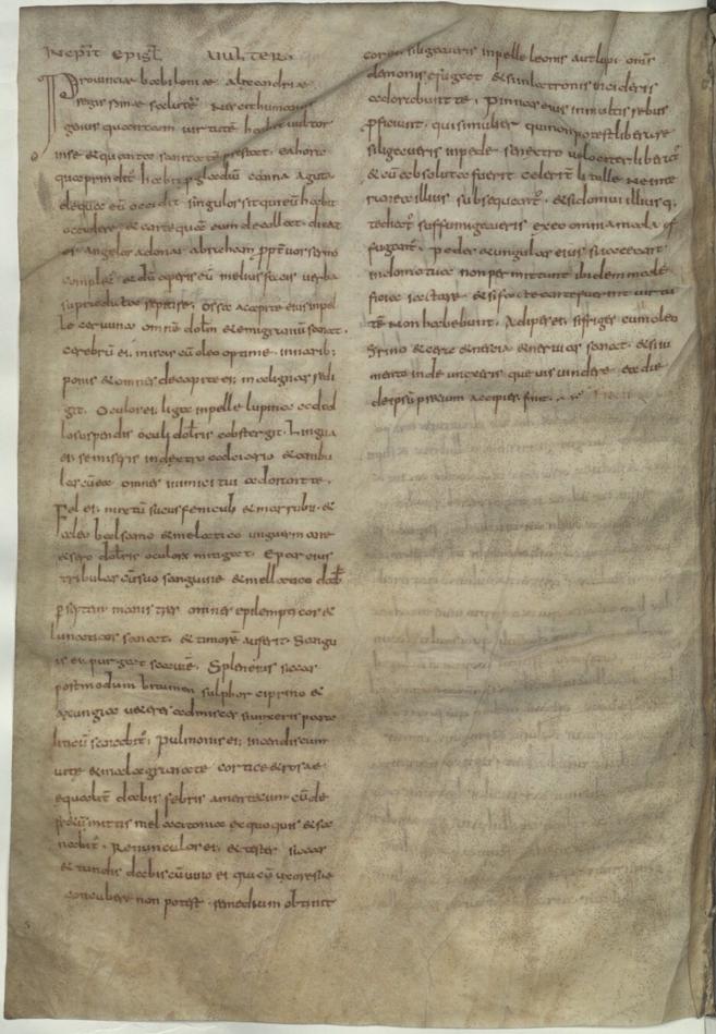 9th century Vulture Epistle manuscript