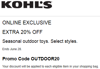 Kohls Coupon: Save 10% OFF OUTDOOR TOYS 2015