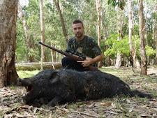 Mr McFadzean with a good wild boar at Carmor Plains in December