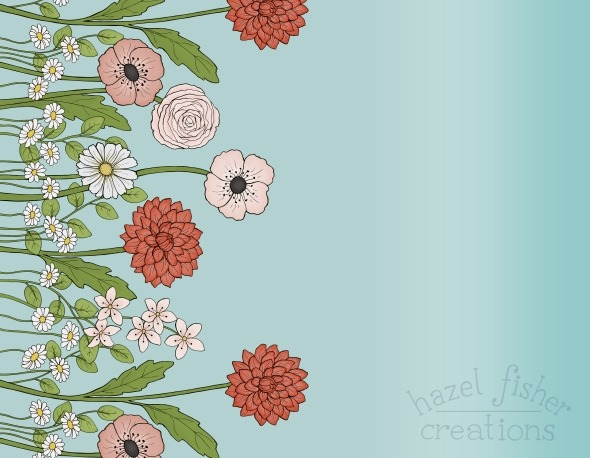 2015 May 01 Flowers for Mom border print Spoonflower fabric design contest hazelfishercreations2