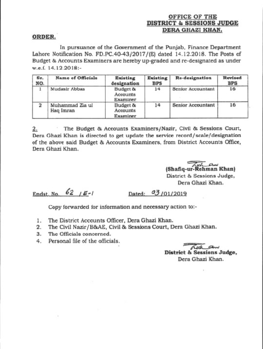 UP-GRADATION OF ACCOUNTANTS RELATED POSTS TO SENIOR ACCOUNTANT