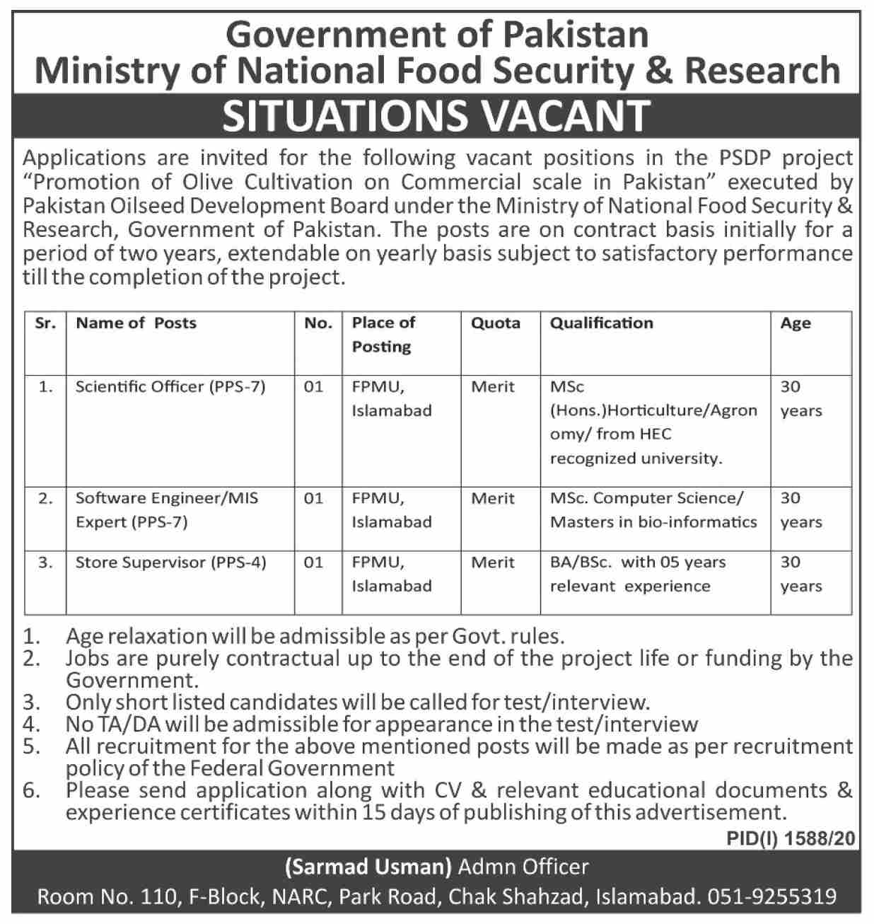 Ministry of National Food Security & Research Jobs September 2020