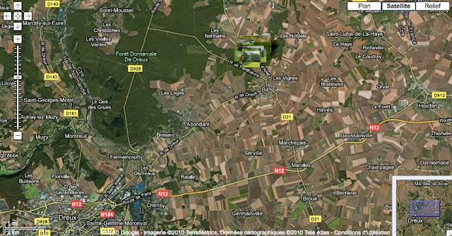 Localisation des photos à l'Est de la Forêt domaniale de Dreux