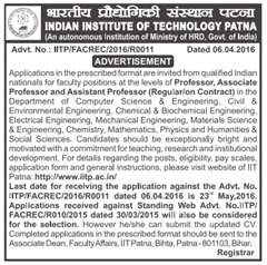 IIT Patna Faculty Recruitment 2016