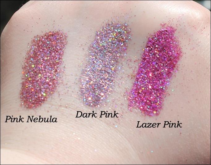 StarGazer Glitter Shaker Swatches Pink Nebula Dark Pink Lazer Pink 2