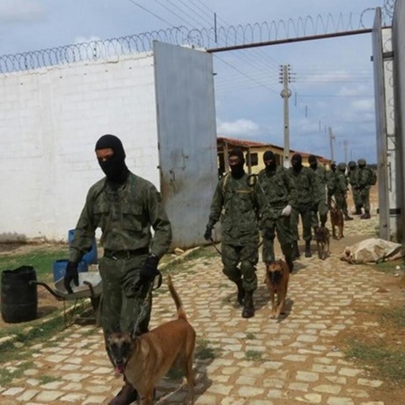 Fuzileiros buscam celulares, armas e drogas na Cadeia Pública de Mossoró