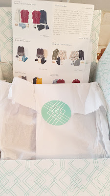 Stitch Fix Box Review - each box comes with a card for each item along with styling ideas. And, every month I get notes from the stylist as well in text that you can see in the upper right.