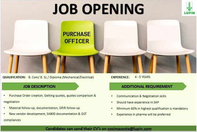 Lupin Ltd - Job Opening for Purchase Officer | Apply Now