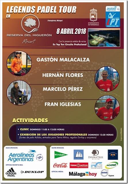 Clinic + Exhibición Jugadores Legends Padel Tour 8 Abril 2018 en Reserva del Higuerón.