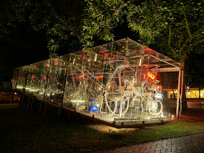 Photo: The Tschumi Pavilion by night - the installation is off and waits for visitors to be activated