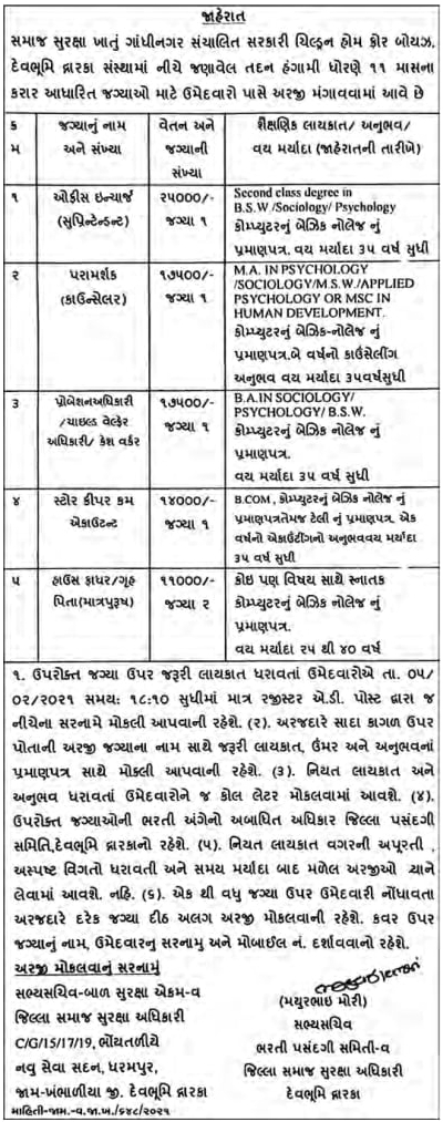 ICPS Devbhumi Dwarka Recruitment 2021