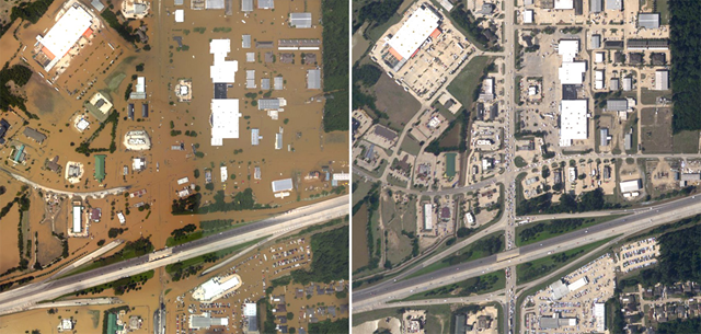 Aerial photo on the left of Denham Springs, Louisiana at the height of the flooding on 15 August 2016, collected by NOAA's National Geodetic Survey at sites identified by NOAA's National Weather Service and the Federal Emergency Management Agency. The photo on the right was taken three days later when flood waters had receded. Photo: NOAA