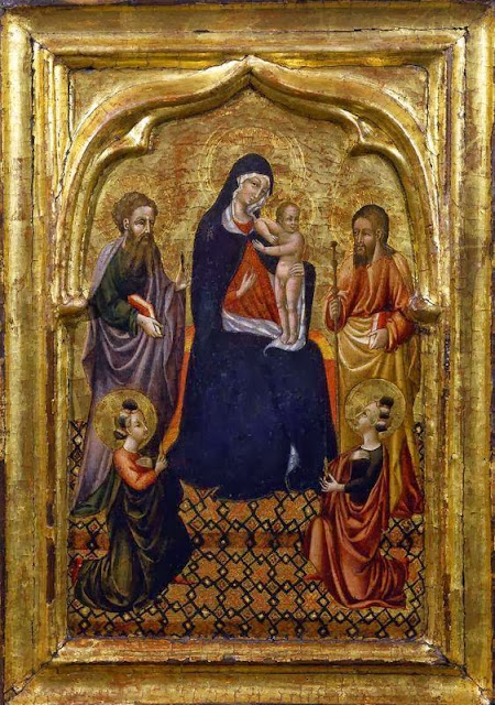 Giovanni di Paolo - Madonna and Child enthroned between Saints Bartholomew and James and two female saints