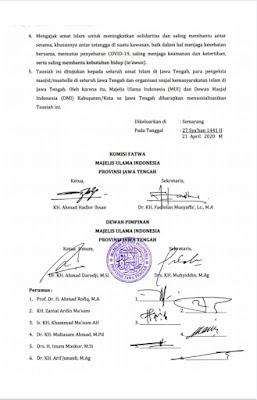 Tausyiah Majelis Ulama Provinsi Jawa Tengah tentang Panduan Ibadah di bulan suci Ramadhan 1441 H dalam situasi darurat Covid-19