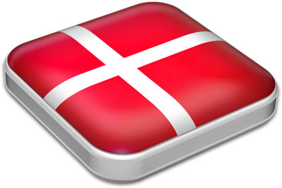 Flag of Denmark with metallic square frame