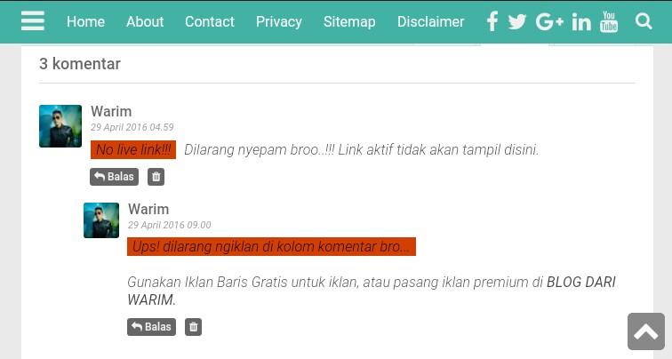 cara menghapus link aktif otomatis pada komentar blog dan mengganti dengan kata kata sendiri