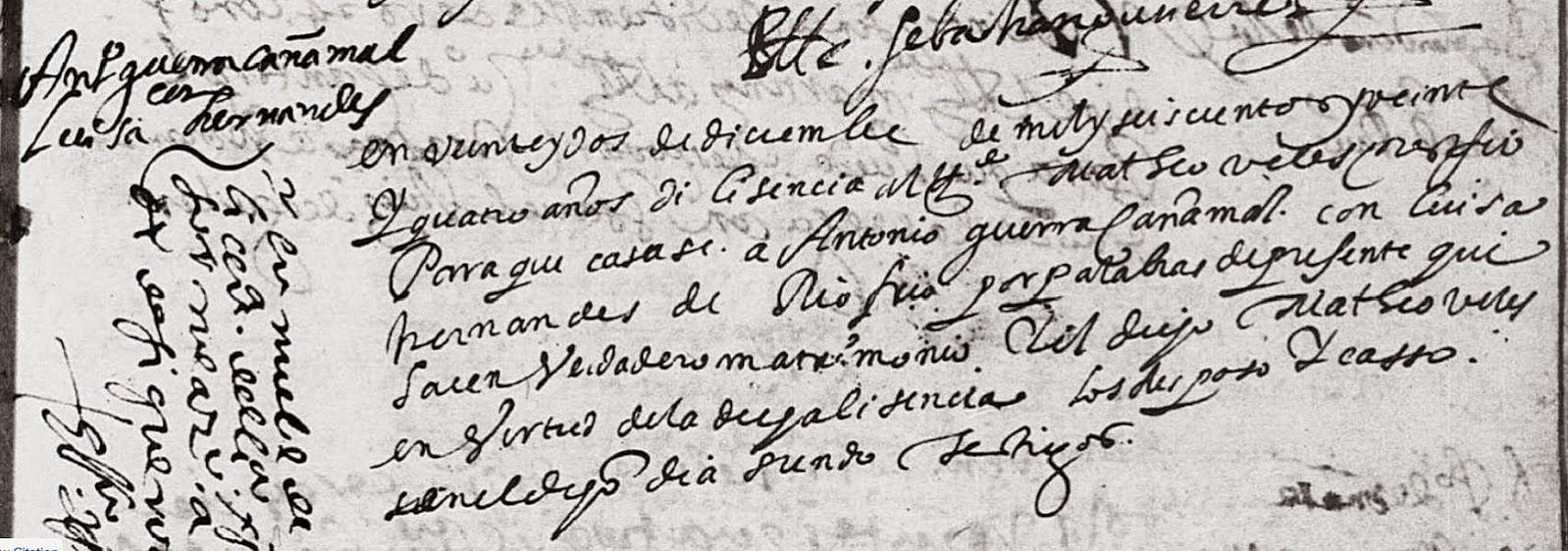 Antonio Guerra Canamal and Luisa Fernandez de Rio Frio El Sagrario Mexico City 1624 Pg 482