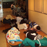 people sleeping at the parapara event in Ginza, Tokyo, Japan