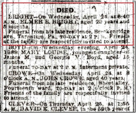 BRIGHT_Elmer E_Obit CloseUp_from Pittsburgh Gazette_1889