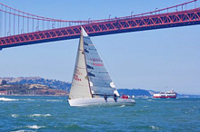 J/125 Double Trouble sailing past Golden Gate Bridge, San Francisco
