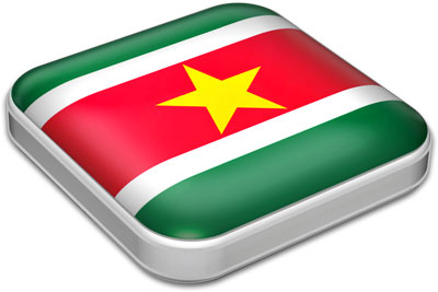 Flag of Suriname with metallic square frame