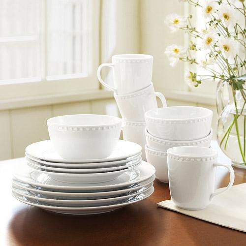 Canopy 24/7 Beaded Porcelain 16 Piece Dinnerware Set & Pottery Barn Emma Dinnerware | Decor Look Alikes