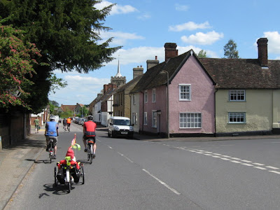 Cycling through pretty village