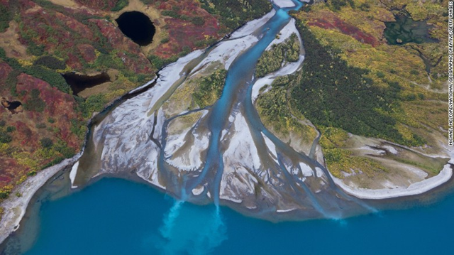 Aerial view of Bristol Bay, a wetland area in southwest Alaska, which is home to one of the world's most productive salmon fisheries. Photo: Michael Melford / National Geographic Creative / Getty Images