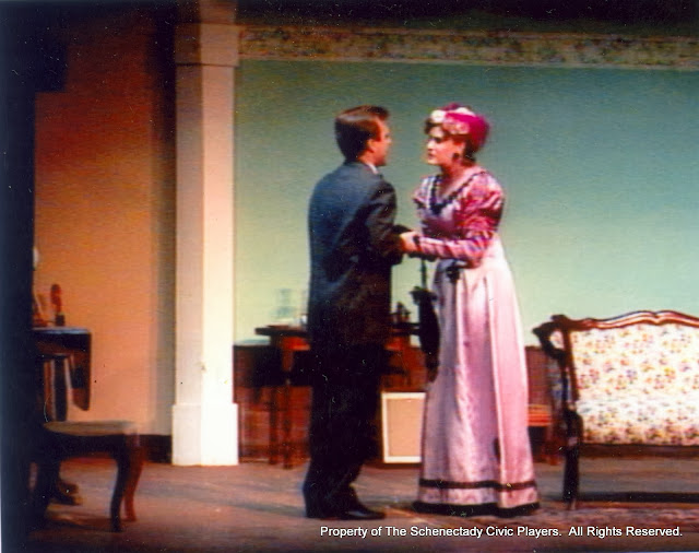 Jeff Nuding and Cristine Henry Sendra in THE IMPORTANCE OF BEING EARNEST (R) - December 1989.  Property of The Schenectady Civic Players Theater Archive.
