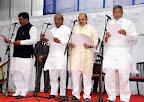 New Ministers Swearing: (L to R) Murugesh R Nirani, Umesh Katti, Basavaraj Bommai, SA Ravindranath