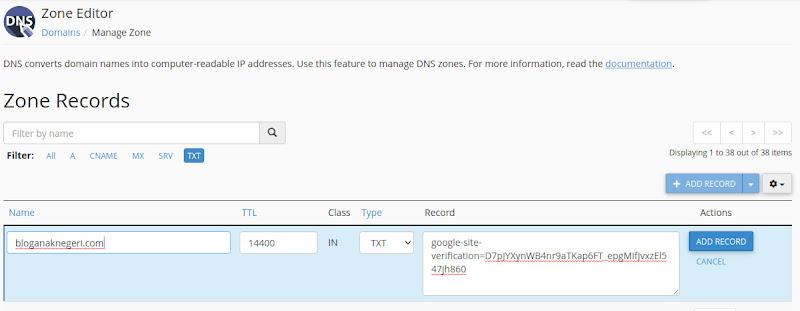 Add Record TXT Verification Google Search Console