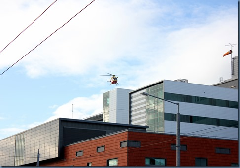 Wellington  Hospital with rescue chopper hovering